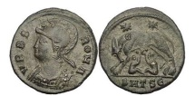 Ancient Coins - Constantine the Great, 330 AD.Thessalonica. VRBS ROMA,She-wolf w.Romulus&Remus.