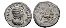 Ancient Coins - JULIA DOMNA, Rome, 211 AD. Silver Denarius. LUNA Lucifera.