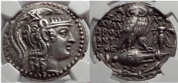 Ancient Coins - ATHENS in ATTICA Greece NEW STYLE Athena Owl Silver Tetradrachm Greek Coin NGC