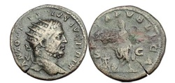 Ancient Coins - CARACALLA, Rome, 211 A.D. Bronze As. Emperor sacrifising over altar.