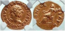Ancient Coins - VITELLIUS 69 AD Rome GOLD PEDIGREE Ex Mazzini Collection(#17),1957 Coin Rare NGC