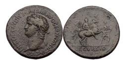 Ancient Coins - NERO, Rome, 63 AD. Bronze Sestertius. Left portrait. Rare bust type. DECVRSIO.
