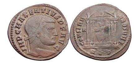 Ancient Coins - MAXENTIUS, Rome, 307 A.D. , Bronze Follis, Temple: Roma Seated Within.