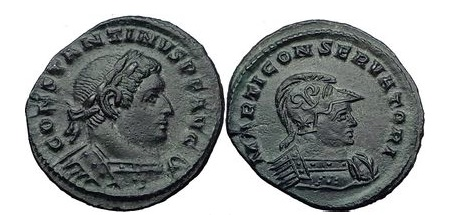 Ancient Coins - CONSTANTINE I the GREAT & MARS Reduced Follis 310 AD RARE