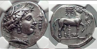 Ancient Coins - ENTELLA Sicily 320 BC Tetradrachm RARE  Silver Greek Coin EX JAMESON COLL. NGC Ancients AU Strike: 4/5 Surface: 4/5