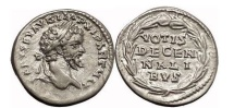 Ancient Coins - SEPTIMIUS SEVERUS, 202 AD. Silver Denarius. Superb and Exceedingly Rare!
