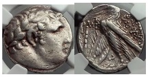 Ancient Coins - TYRE Shekel Biblical Greek Coin Jesus Betrayal Judas 30 Pieces Silver NGC Ch VF