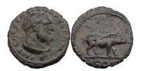 Ancient Coins - TRAJAN. Rome, 101 A.D. Copper quadrans. Hercules. Boar. Rare.