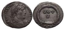 Ancient Coins - VALENTINIAN I, Constantinople, 364 A.D.,  Silver Siliqua. VOT V within wreath.
