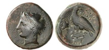 Ancient Coins - SICILY:AKRAGAS,425BC.River-god Akragas.Authentic Large Bronze Ancient Greek coin