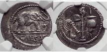 Ancient Coins - JULIUS CAESAR 49 BC Elephant Serpent  SILVER Roman Coin NGC ChAU
