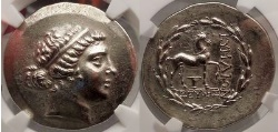 Ancient Coins - KYME Cyme in AEOLIS 155BC Tetradrachm SILVER Greek Coin NGC AU Amazon Horse