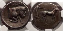 Ancient Coins - SICILY: GELA, 420 BC. Silver Tetradrachm. River-god Gelos. Crane. Superb artistic style.