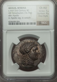 Ancient Coins - AEOLIS. Myrina 155 B.C.  NGC Certified Choice AU Tetradrachm