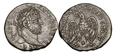 Ancient Coins - CARACALLA, 209-211 A.D., Syria, Laodicea ad Mare, Silver Tatradrachm: Eagle.