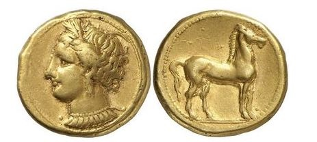 Ancient Coins - CARTHAGE. ZEUGITANA 310 B.C. Electrum  Stater: Tanit-Persephone Horse. ex Ernst Collection, Dusseldorf, 1970.