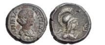 Ancient Coins - ANNIA FAUSTINA, Alexandria. c.221 AD. Silver Drachm, Athena. Very Rare.
