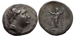 Ancient Coins - Nicomedes II, Epiphanes 149 B.C.,  Silver Tetradrachm: Portrait of the King. Zeus. NGC XF. 4/5. 4/5.