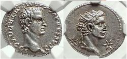 Ancient Coins - CALIGULA & AUGUSTUS 37 AD Lugdunum Silver Denarius Ancient Roman Coin NGC Ch AU