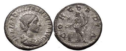 Ancient Coins - JULIA Aquilia Severa, Rome, 220AD. Silver Denarius. Concordia. Rare.