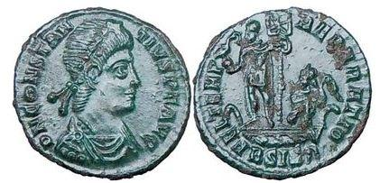 Ancient Coins - Constantius II,348 A.D.,Siscia.Emperor with Phoenix on Globe & Labarum -XP (Christ).