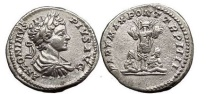 Ancient Coins - CARACALLA, Rome, 201 AD. Silver Denarius. Trophy, captives.