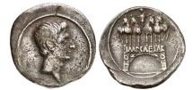 Ancient Coins - AUGUSTUS, Rome,29 BC.Silver Denarius Emperor in Quadriga on Triumphal Arch.RARE!