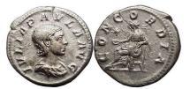Ancient Coins - JULIA PAULA, 219 A.D.,Rome, Silver Denarius. Concordia. Rare.