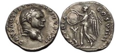 Ancient Coins - VESPASIAN, Rome, 79 AD. Judaea Capta. Victory w shield. Rare type. Superb!