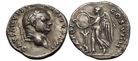 Ancient Coins - VESPASIAN, Rome, 79 AD. Judaea Capta. Victory w shield. Rare type. Superb!