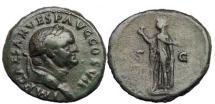 Ancient Coins - VESPASIAN, Rome, 74 A.D. Bronze As: Spes holding Flower.