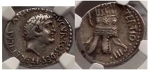 Ancient Coins - Conquest of Armenia. MARK ANTONY, AR Denarius, 36 BC., Armenian Tiara. NGC Certified Choice VF, Very Rare