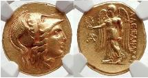 Ancient Coins - ALEXANDER III the GREAT 330 BC Gold  Stater NGC AU