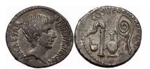 Ancient Coins - OCTAVIAN, Central Italy, 37 BC. Silver Denarius. Priest implements. Fantastic!