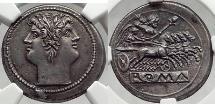 Ancient Coins - Roman Republic 225BC QUADRIGATUS JANUS NGC Certified AU