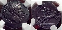 JULIUS CAESAR 44BC First Portrait RARE Silver Roman Denarius Coin NGC Ch XF