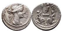 Ancient Coins - Cornelius Sulla,56 B.C.  AR Denarius. Diana / Ring Scene: Sulla's Triumph. Rare. NGC Ch VF 5/5. 3/5.
