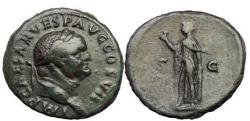 Ancient Coins - VESPASIAN, Rome, 74 A.D. Bronze As: Spes holding Flower.