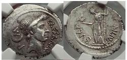 Ancient Coins - JULIUS CAESAR 44 B. C . L. Aemilius Buca. Pedigreed NGC Ch XF*