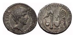 Ancient Coins - OCTAVIAN, Central Italy, 37 BC. Silver Denarius. Priest implements. Fantastic!
