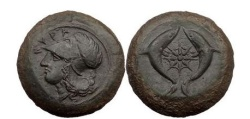 Ancient Coins - SICILY: SYRACUSE; 406 BC. Bronze Drachm. Athena. Two Dolphins.