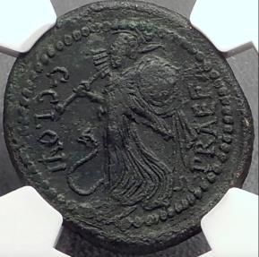 Ancient Coins - JULIUS CAESAR 46 BC Rome C Clovius Prefect Minerva Victory NGC Ch VF
