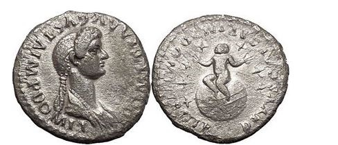 Ancient Coins - DOMITIA, Rome, 81 AD. Silver Denarius. Infant on a globe seven stars Very Rare.