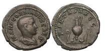 Ancient Coins - GORDIAN III as Caesar  238 A.D. Silver denarius. Priestly emblems. Very Rare. Ex A. Lynn Collection, Ex CNG 50