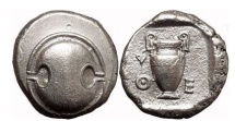Ancient Coins - BOEOTIA: THEBES, 425 BC. Silver Stater. Shield. Amphora.
