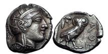 Ancient Coins - ATTICA, ATHENS, c.449 B.C. Silver Tetradrachm. Athena. Owl. Superb.