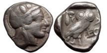 Ancient Coins - ATTICA, ATHENS, 430 B.C. Silver Tetradrachm. Helmeted head of Athena. Owl.