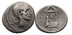 Ancient Coins - P.CORNELIUS LENTULUS MARCELLINUS, Rome, 50 B.C. Silver Denarius: Consul/Temple
