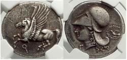 Ancient Coins - CORINTH 345 BC  Silver Stater ATHENA PEGASUS NGC XF