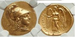 ALEXANDER III the GREAT: LIFETIME 332BC Gold  Stater NGC Ch AU